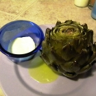 SCD Recipe: Roasted Artichoke with Champagne Vinegar Mayo